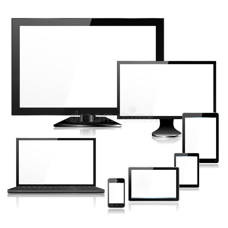 Realistic Mobile Computer Devices TV Laptop and Sc vector illustration