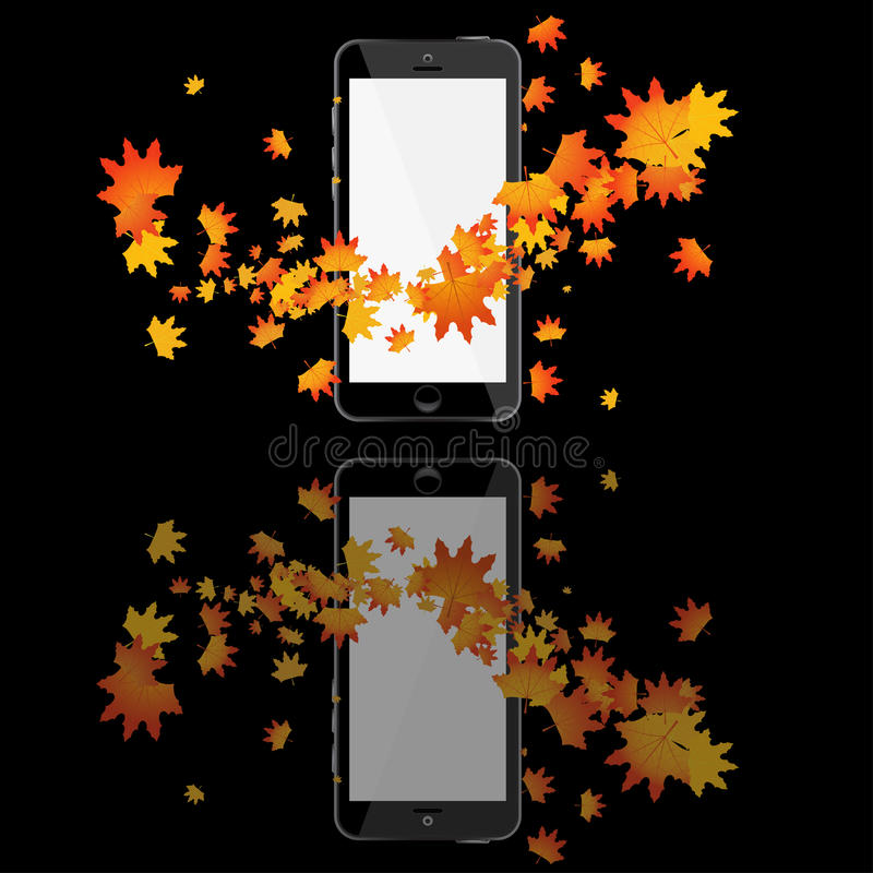 Realistic mobile phone. With blank screen isolated on white vector illustration