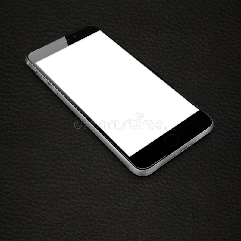 Realistic mobile phone. Realistic mobile phone with blank white screen and shadows on leather background. Highly detailed illustration vector illustration