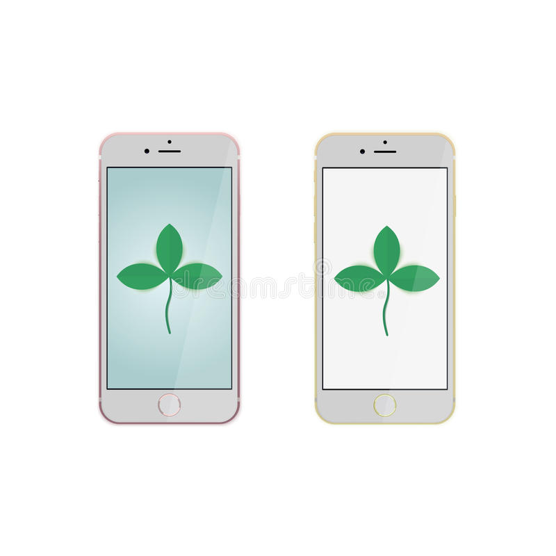 Realistic mobile phone or smartphone mockups with pink and golden bumper and blank screen on white background for printin vector illustration