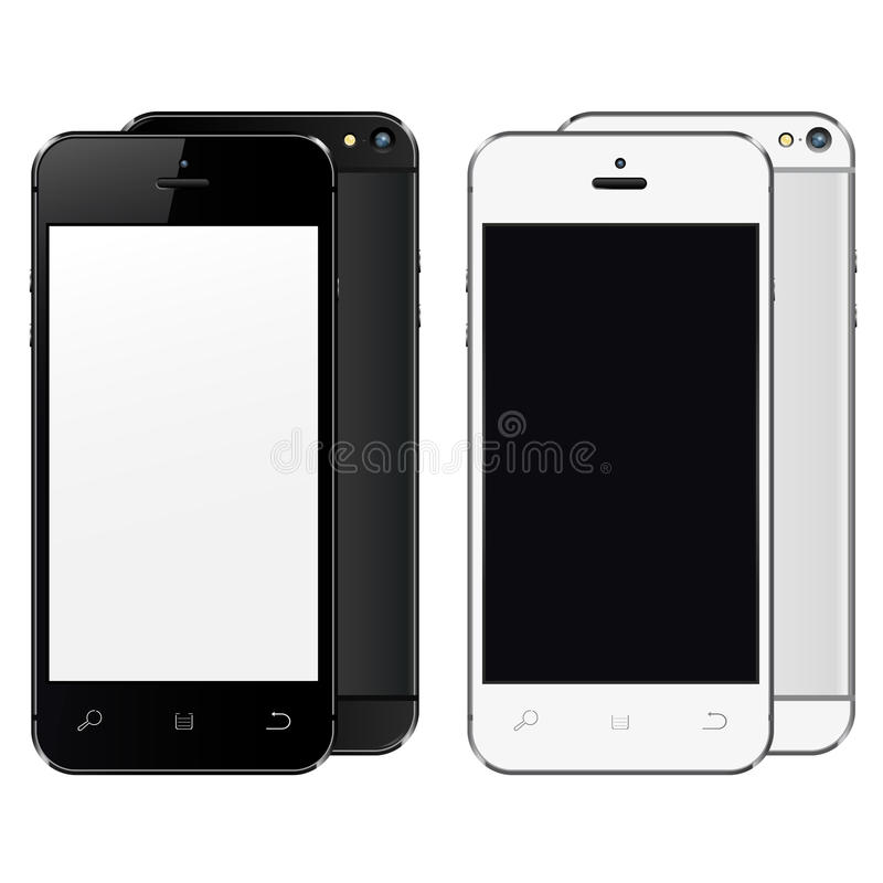 Realistic mobile phones with blank screen isolated on white background. vector illustration