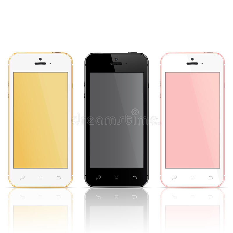 Realistic mobile phones. With blank screen on a white background stock illustration