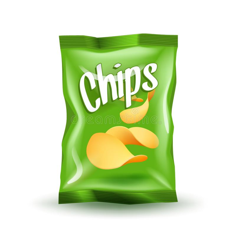 Realistic mockup package of green chips package with label isolated on white background. Foil bags with potato snack, vector illustration royalty free illustration