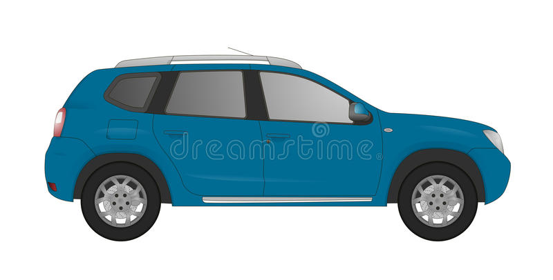 Realistic model car isolated on background. Detailed drawing. Vector illustration. One click change color body, realistic car models with shadows and vector illustration