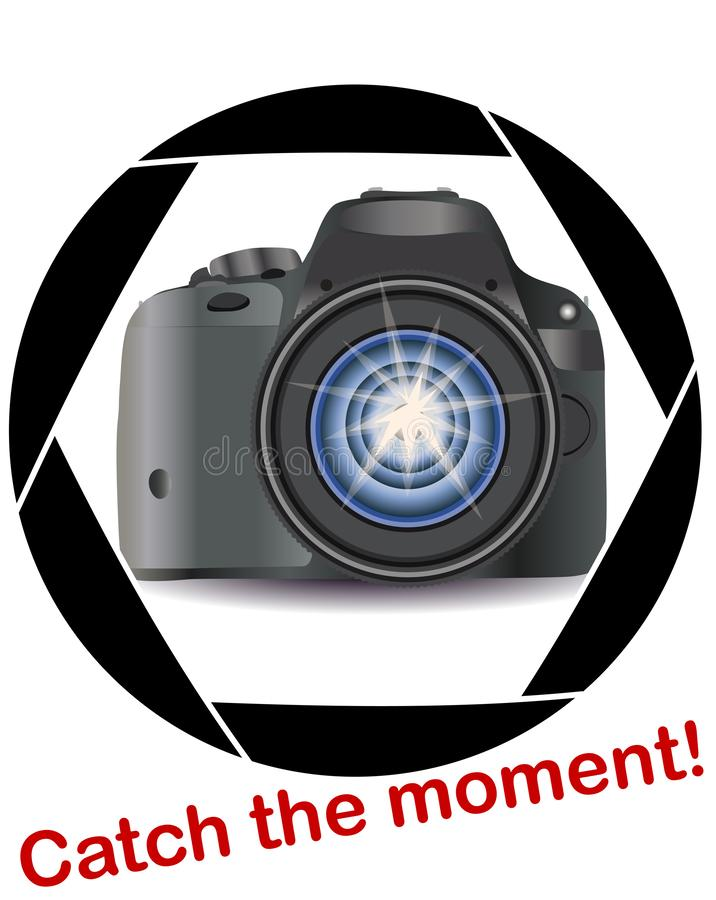 A realistic modern camera in the frame of the camera's diaphragm. Concept photography, vocations, photo business stock illustration