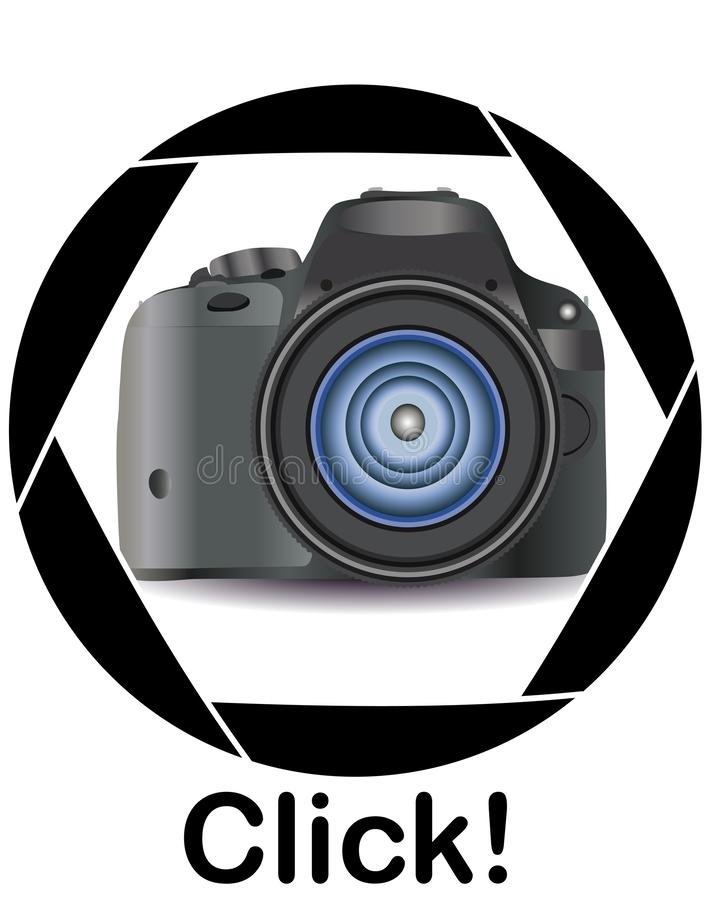 A realistic modern camera in the frame of the camera's diaphragm. Concept photography, vocations, photo business royalty free illustration