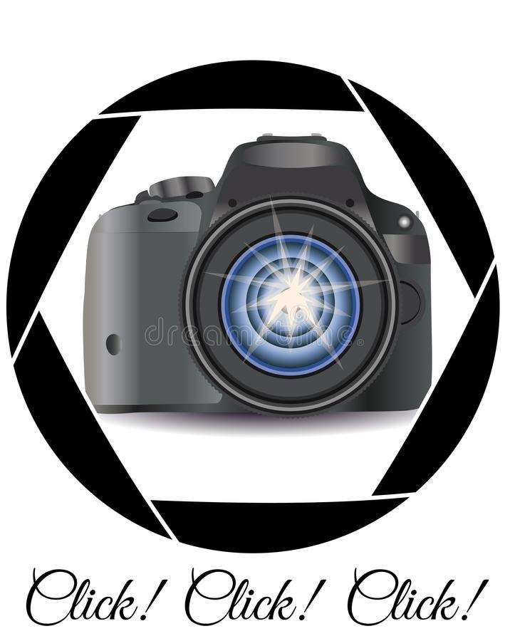 A realistic modern camera in the frame of the camera\'s diaphragm. Concept photography, vocations, photo business vector illustration