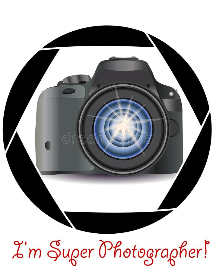 A realistic modern camera in the frame of the camera\'s diaphragm. Concept photography, vocations, photo business royalty free illustration