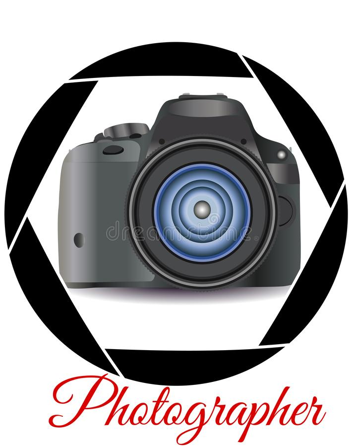 A realistic modern camera in the frame of the camera\'s diaphragm. Concept photography, vocations, photo business stock illustration
