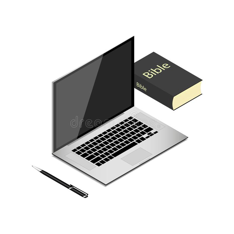 Realistic modern laptop on white background. Bible, holy Book and pen on desktop, worktable. Electronics industry royalty free illustration