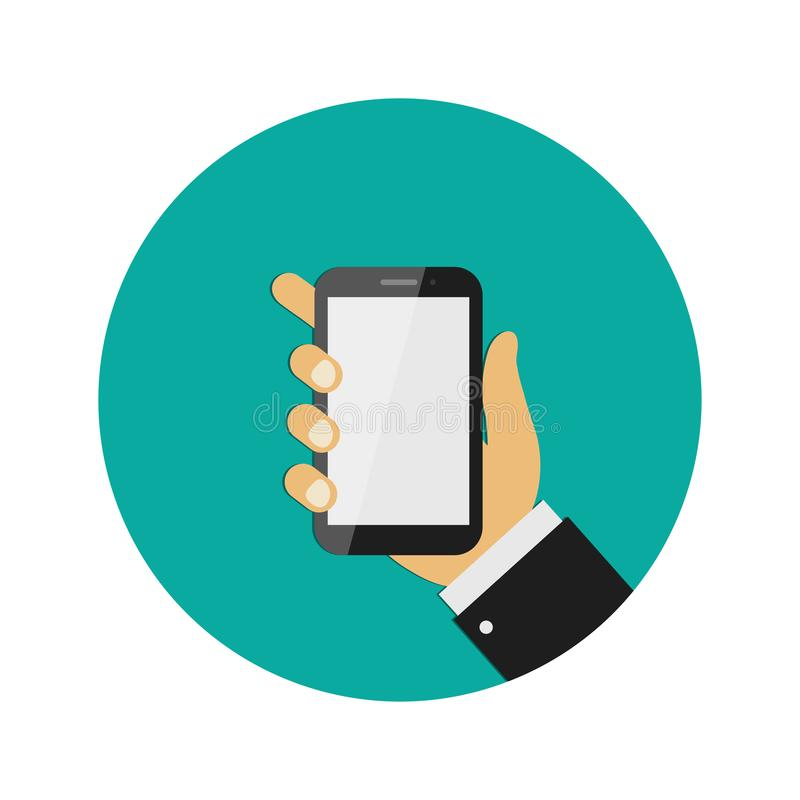 Realistic modern mobile phone on green background. Hand holding smart phone. Flat design. Vector illustration. Realistic modern mobile phone on green background royalty free illustration