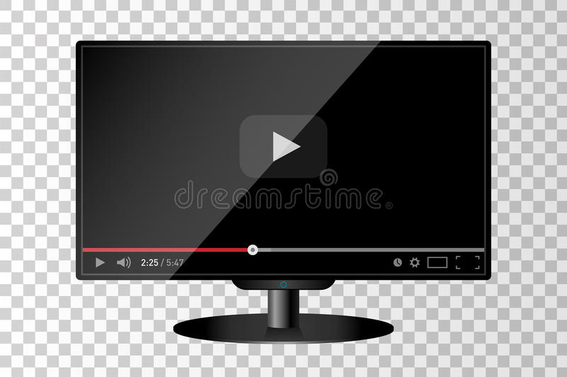 Realistic modern TV monitor isolated. Video player template vector illustration