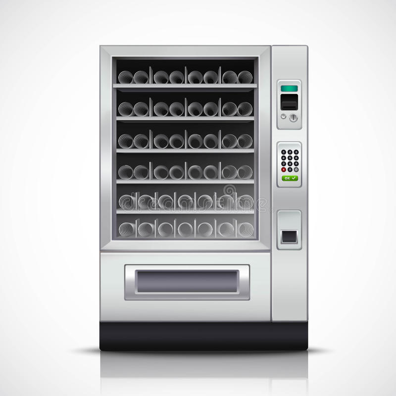 Realistic Modern Vending Machine. With steel body and electronic control panel on white background isolated illustration royalty free illustration
