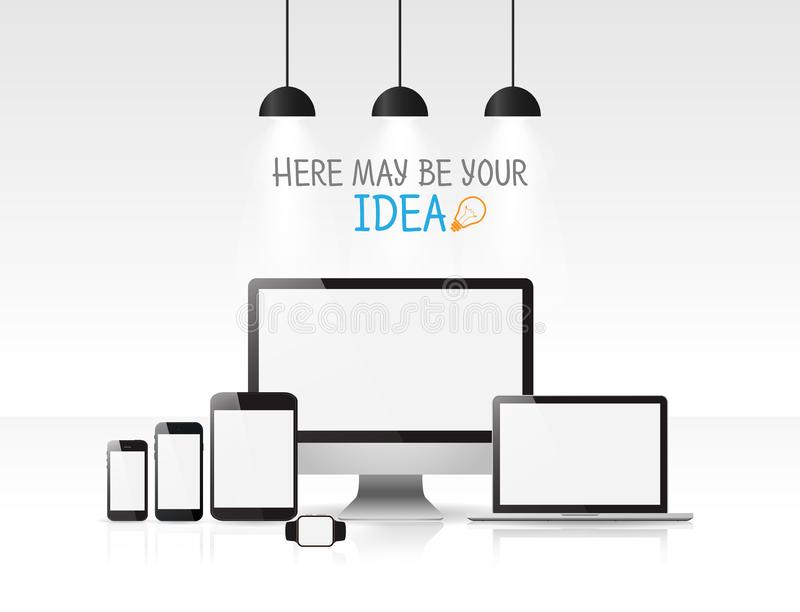 Realistic Monitor, laptop, tablet and phone, Modern devices mockups for your projects. vector illustration