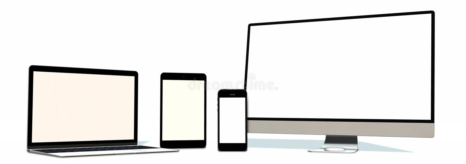 Realistic Monitor laptop tablet and phone set isolated on white vector illustration