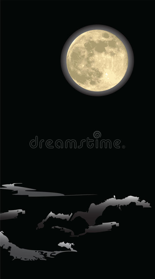 Realistic Moon , In A Dark Night Stock Image