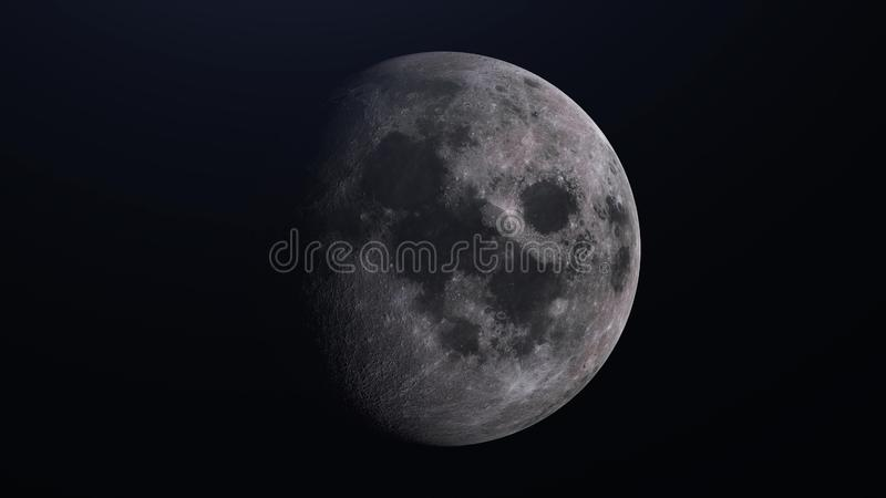 Realistic Moon, satellite planet Earth in deep space. 3d rendering stock illustration