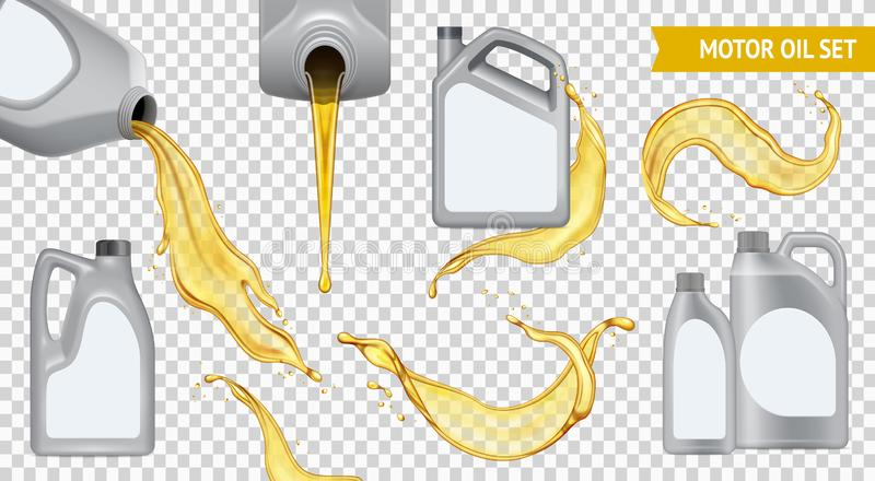 Realistic Motor Oil Transparent Icon Set. Isolated realistic motor oil transparent icon set jerrycan with yellow oil on transparent background vector stock illustration