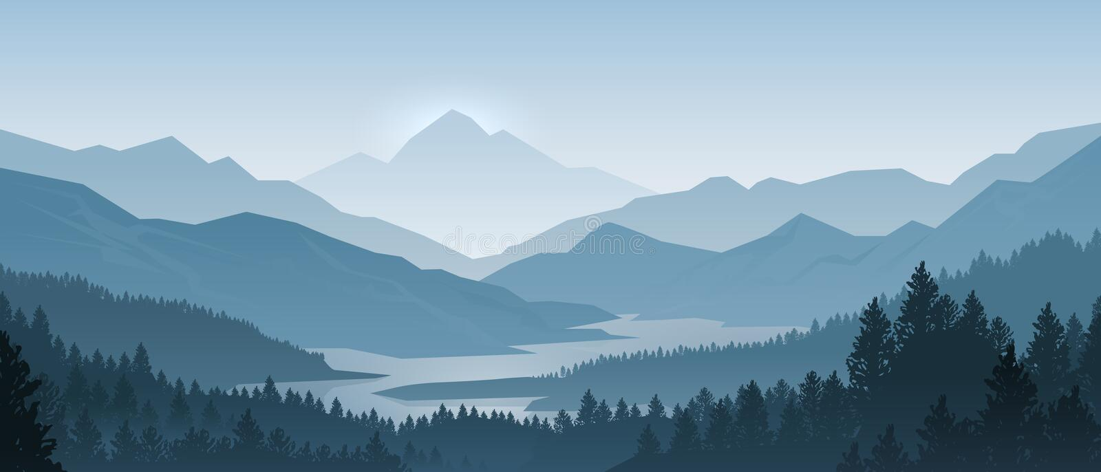 Realistic mountains landscape. Morning wood panorama, pine trees and mountains silhouettes. Vector forest background royalty free illustration