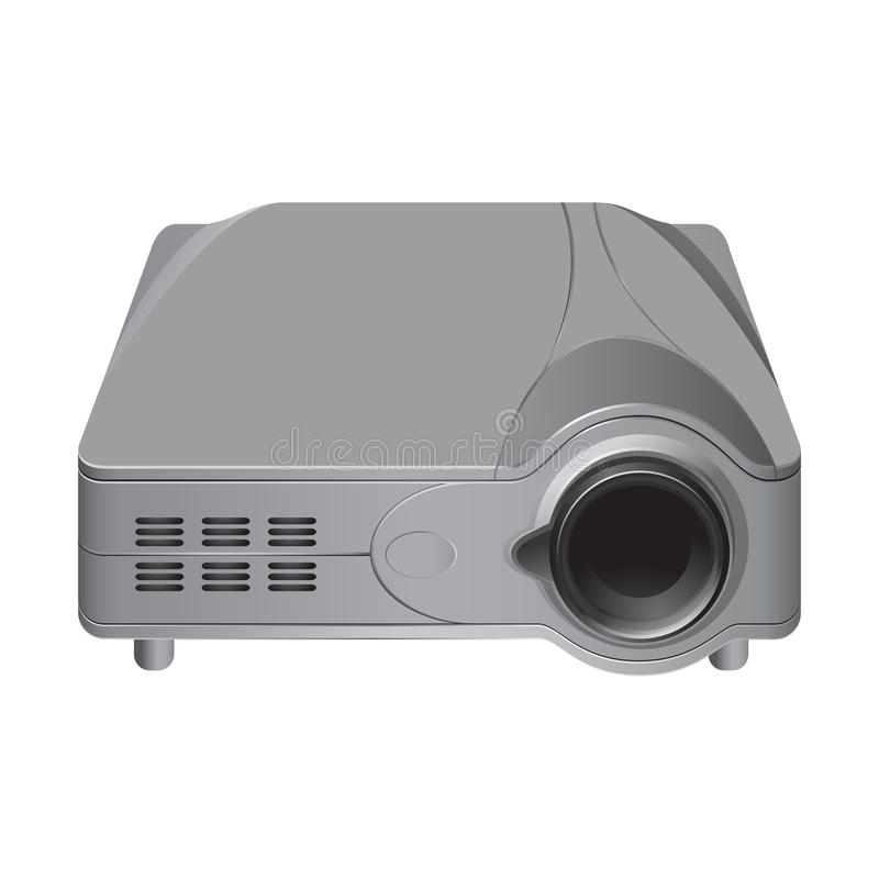 Realistic multimedia projector. Realistic multimedia grey projector. 3d Illustration on white background royalty free illustration