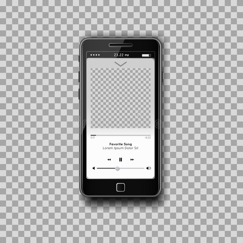 Realistic music Mp3 player on black smartphone with empty screen on transparent background. vector illustration
