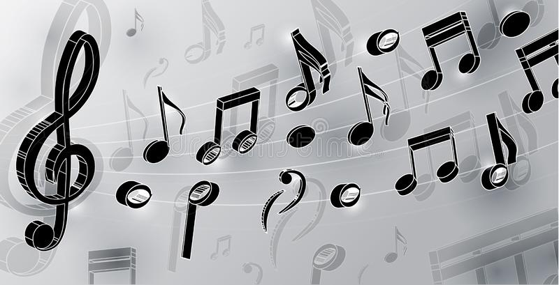 Vector music notes and violin key in realism style isolated on light background. 3d vector notes for design. vector graphics. Realistic music notes and violin royalty free illustration