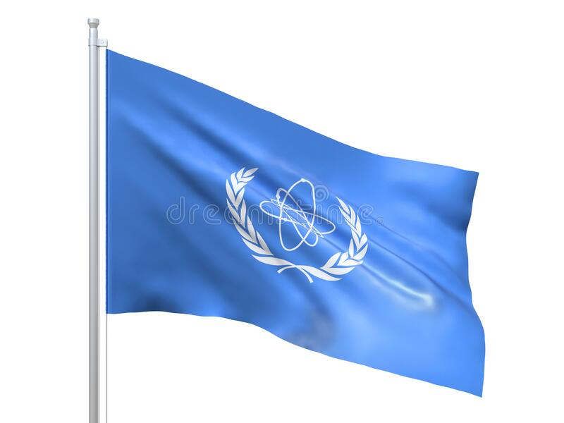 IAEA International Atomic Energy Agency flag waving on white background, close up, isolated. 3D render royalty free illustration