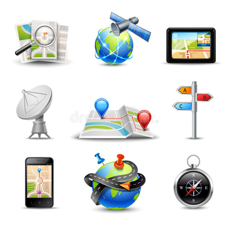 Realistic Navigation Icons. Realistic gps route search and navigation icons set isolated vector illustration vector illustration