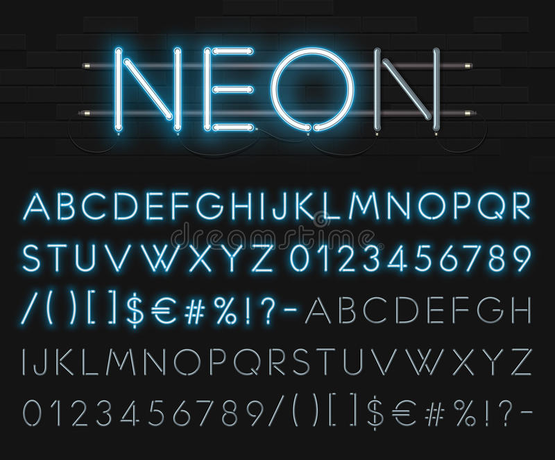 Realistic neon alphabet on a background of black brick wall. Blue glowing font. Vector format royalty free illustration