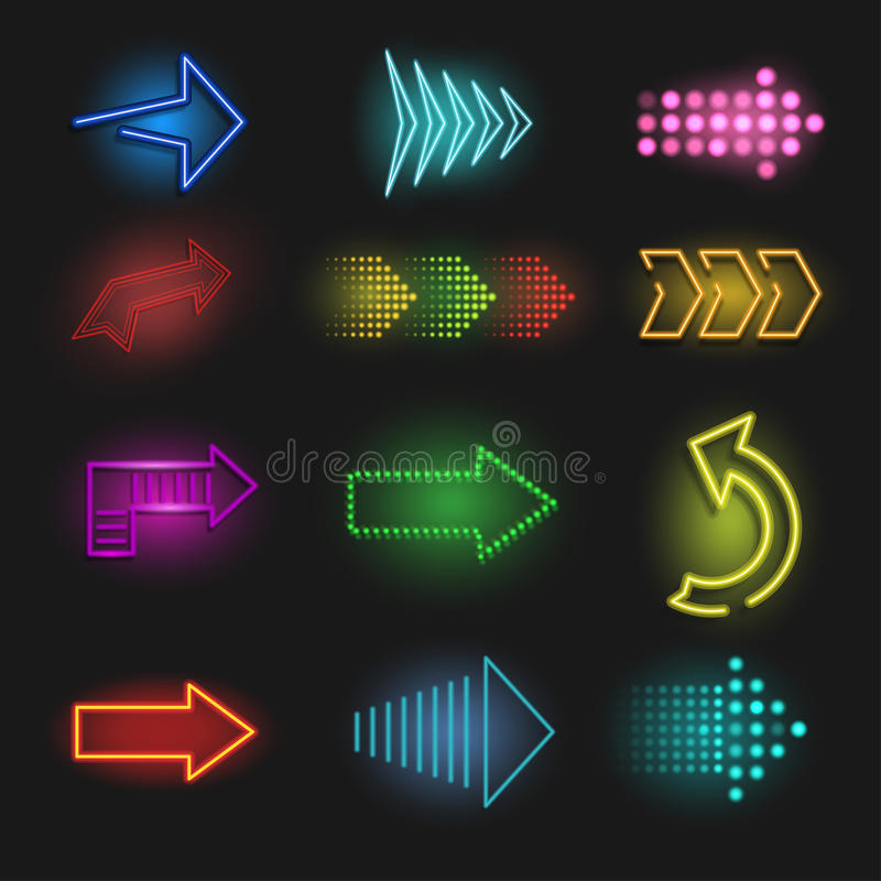 Realistic neon arrow on a dark background royalty free illustration