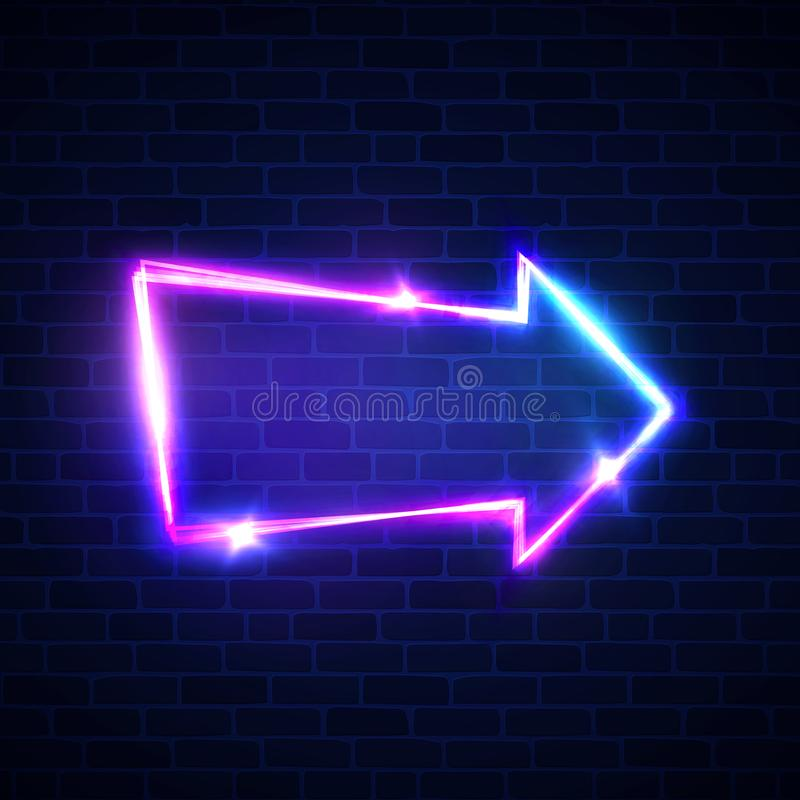 Realistic neon arrow sign on brick wall. royalty free illustration