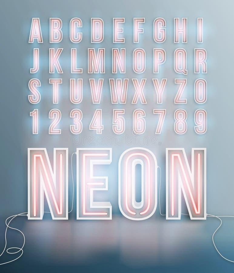 Realistic neon font alphabet vector royalty free illustration