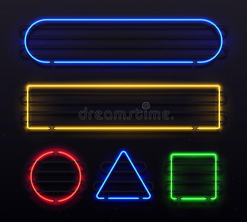 Realistic neon frame. Shiny banner with electric border glow and light vintage bar illuminated frames. Retro glowing stock illustration