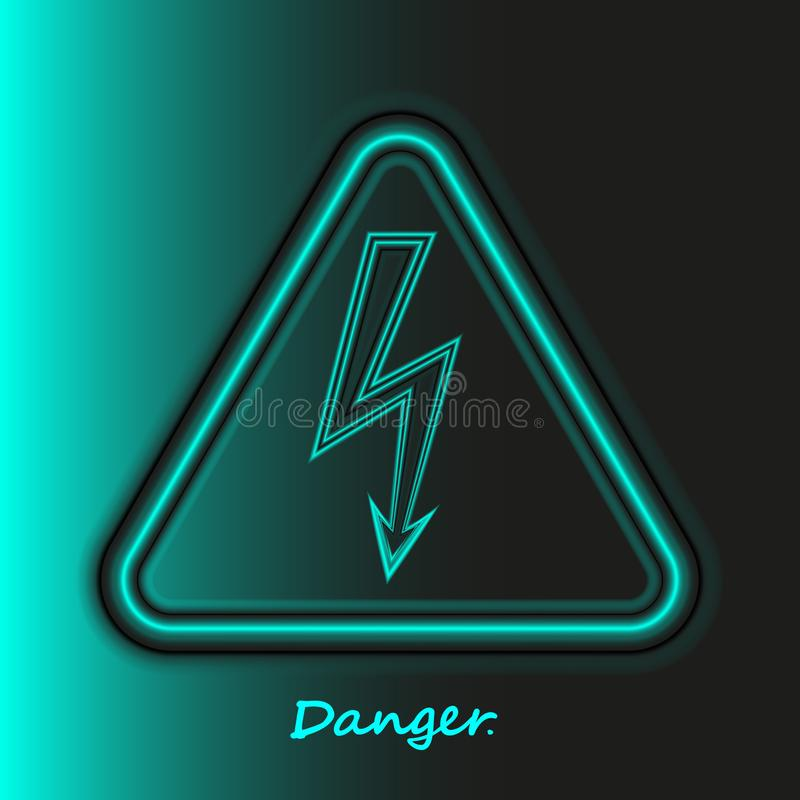 Realistic neon High Voltage sign. Turquoise modern bright glowing danger symbol in black backdrop. Light arrow isolated in vector illustration