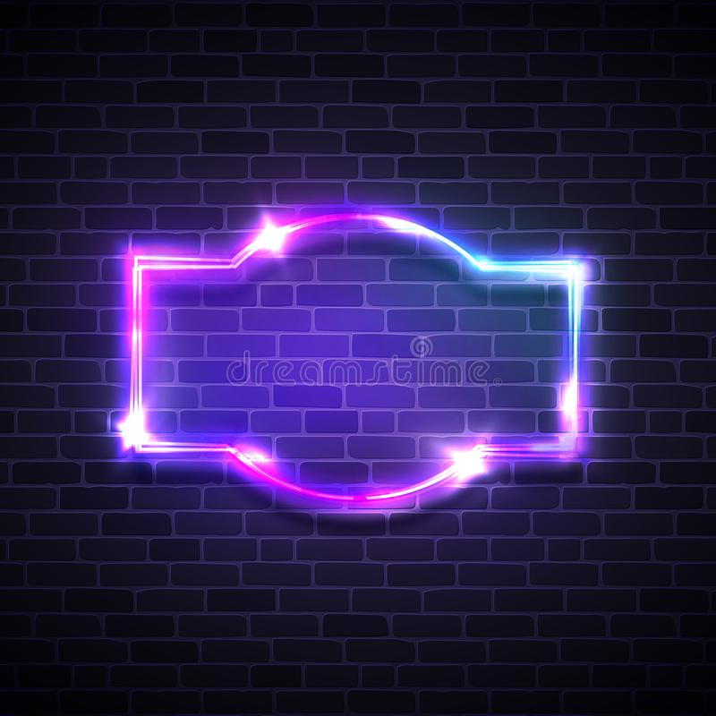Realistic neon led lights frame. Game show signage. With glowing. Electric bright 3d street sign on dark brick background wall. Abstract electricity frame with vector illustration