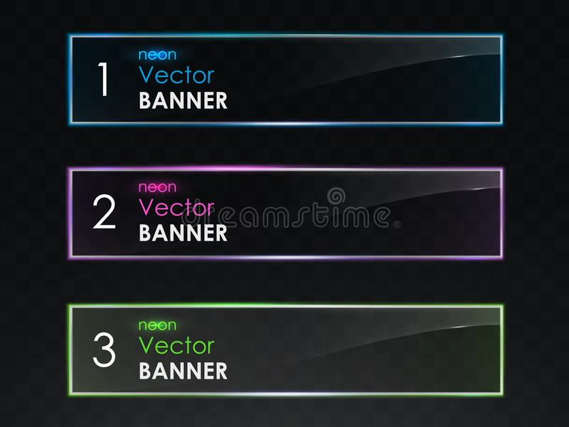 Realistic neon light horizontal banners vector set vector illustration