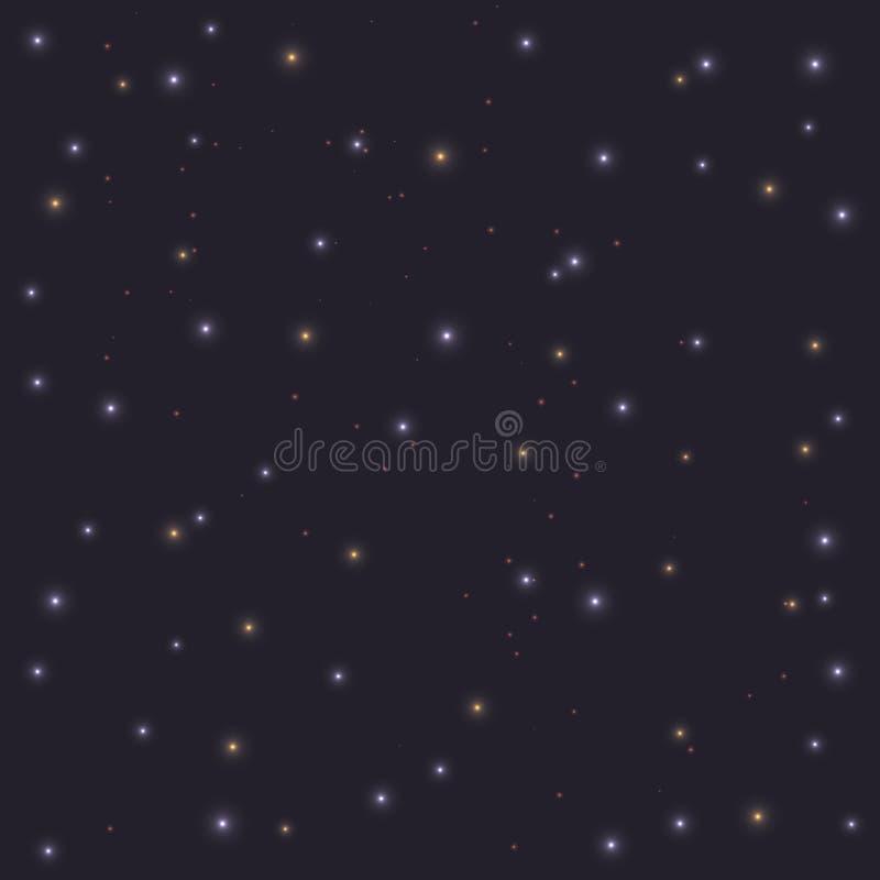 Realistic night blue sky with shining stars. Vector astranomy bright light illustration art stock illustration