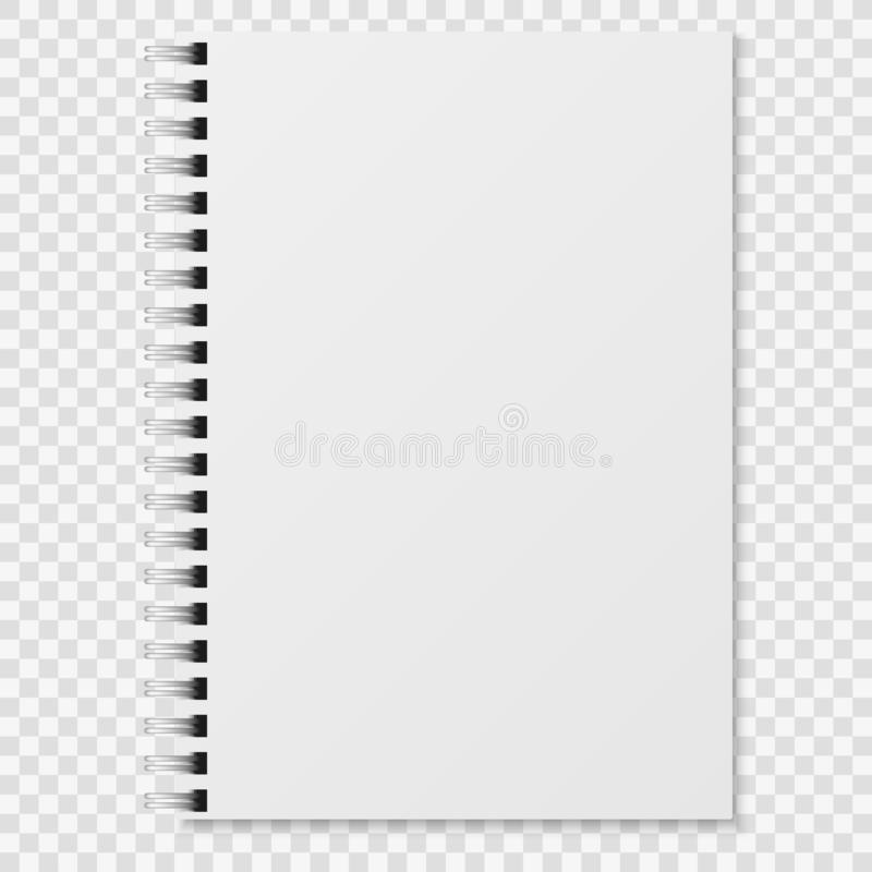 Realistic notebook. Blank closed spiral binder white copybook. Paper organizer or diary vector mockup vector illustration
