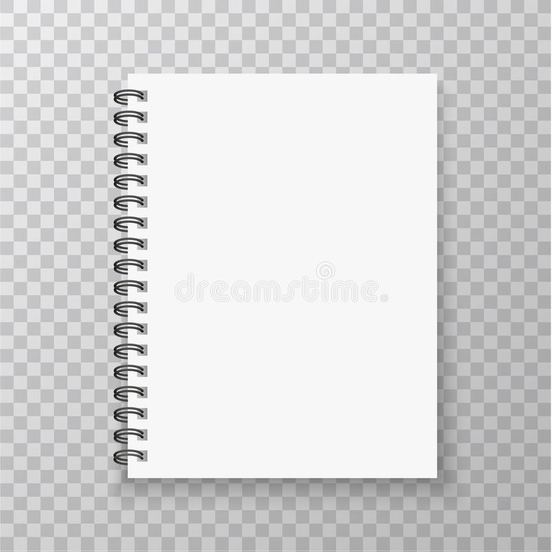 Realistic Notebook mockup. Copybook with metallic silver spiral. Blank mock up with shadow. Vector illustration. stock illustration