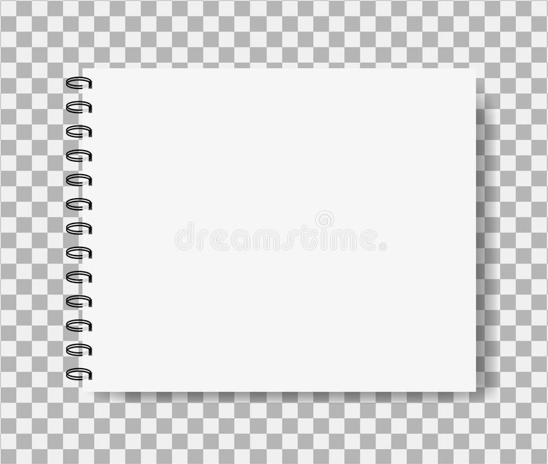 Realistic notebook in mockup style. Blank notepad with spiral. Template of empty horizontal notepad. vector eps10 royalty free illustration