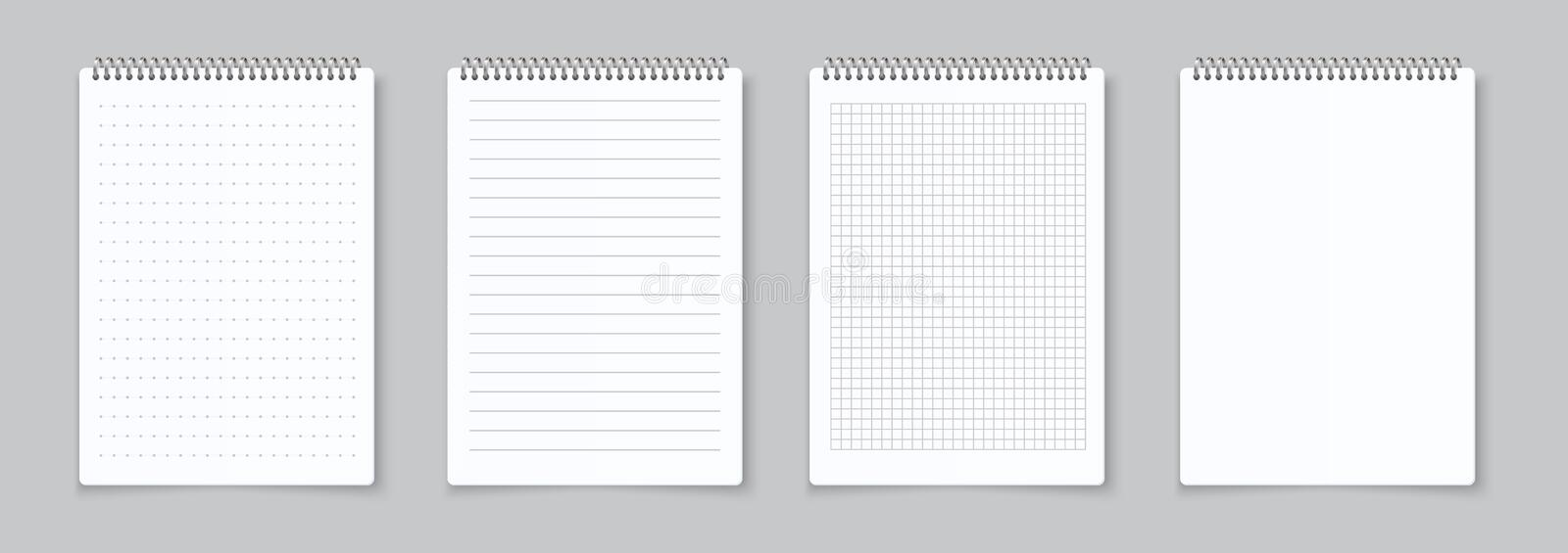 Realistic notebooks sheets. Lined, checkered and dots paper binder page for memo pads . Vector illustration template. Realistic notebooks sheets. Lined vector illustration