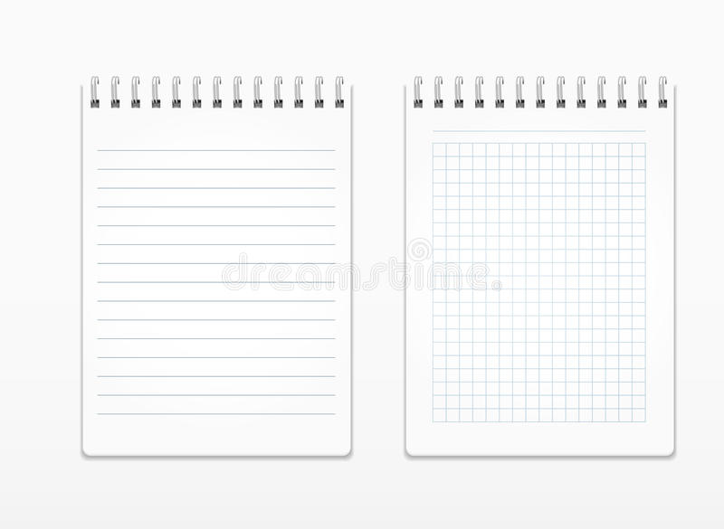 Realistic notepads with white sheets in line and in a square, on a spiral royalty free illustration