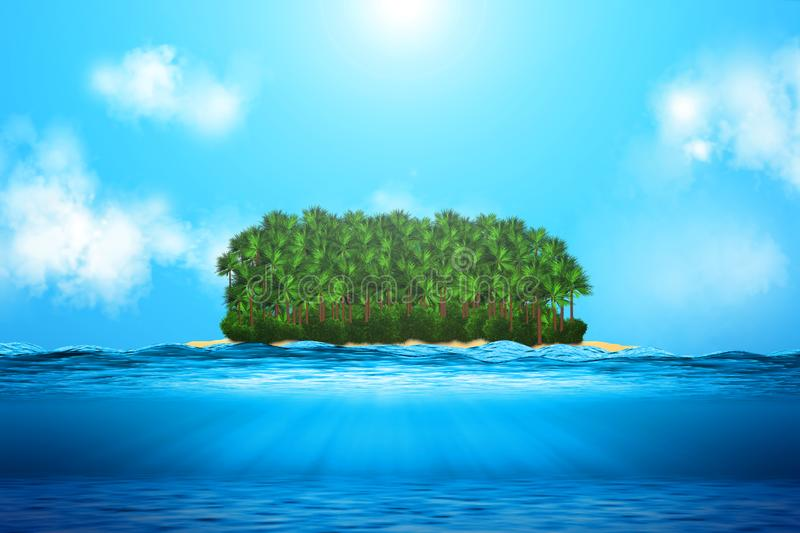 Realistic ocean underwater view, with island. stock illustration