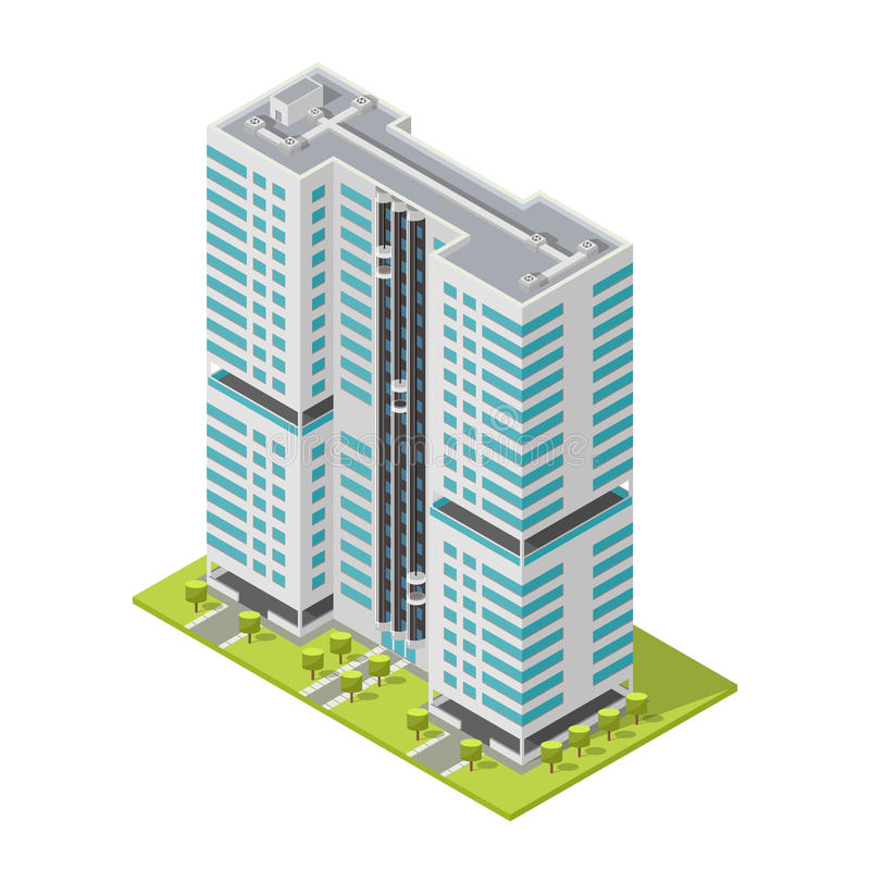 Realistic office building, isometric skyscraper, modern apartments. Vector illustration. 3D design for logos, infographics and city map creation. City vector illustration