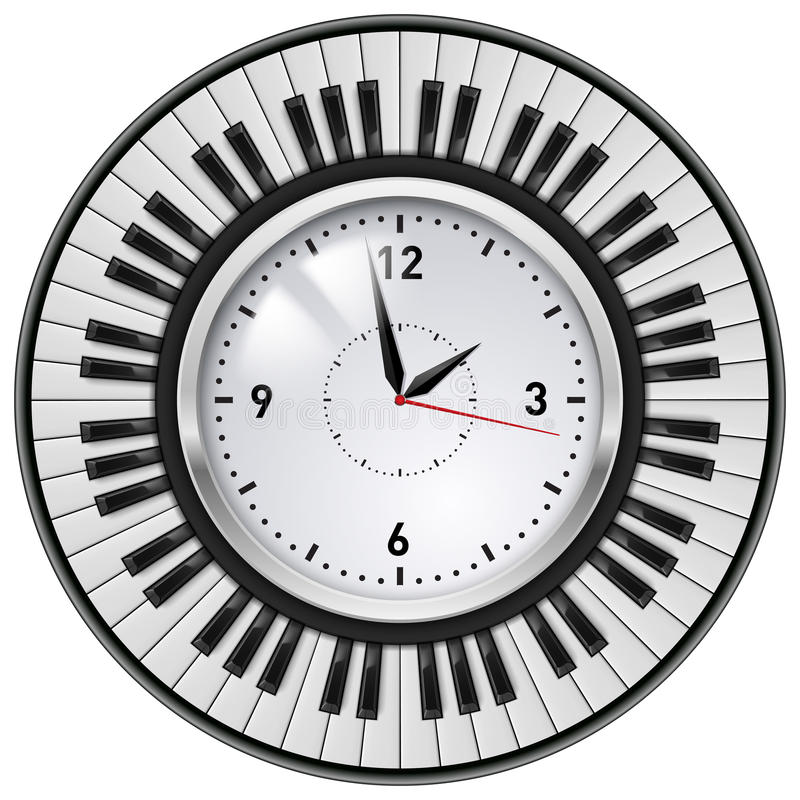 Download Realistic Office Clock And Piano Keys Stock Vector - Image: 27817180