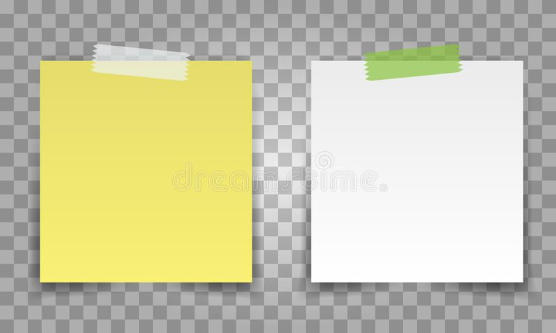 Realistic Office paper sheet pin with transparent tape. White and yellow post note vector for your design. royalty free illustration