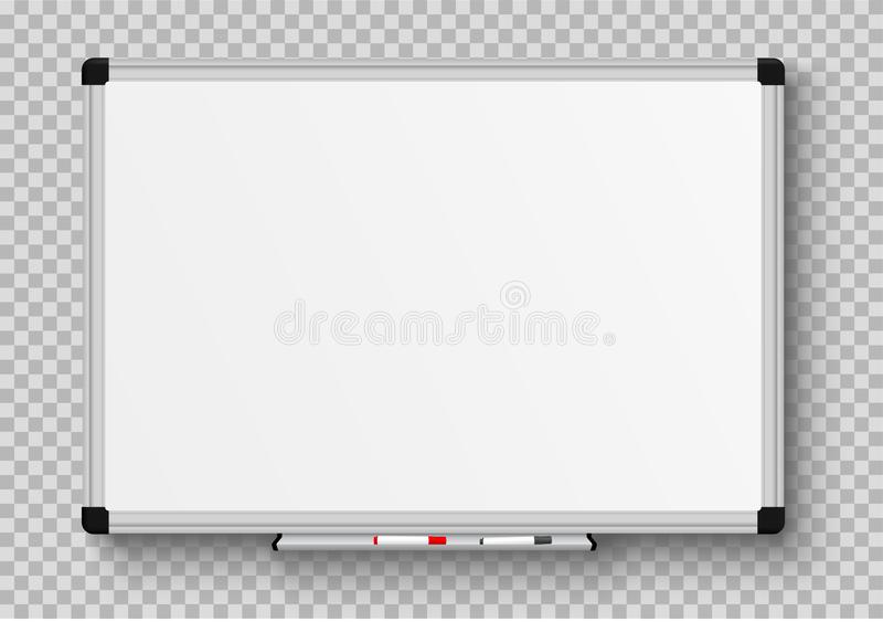 Realistic office Whiteboard. Empty whiteboard with marker pens - stock vector stock illustration