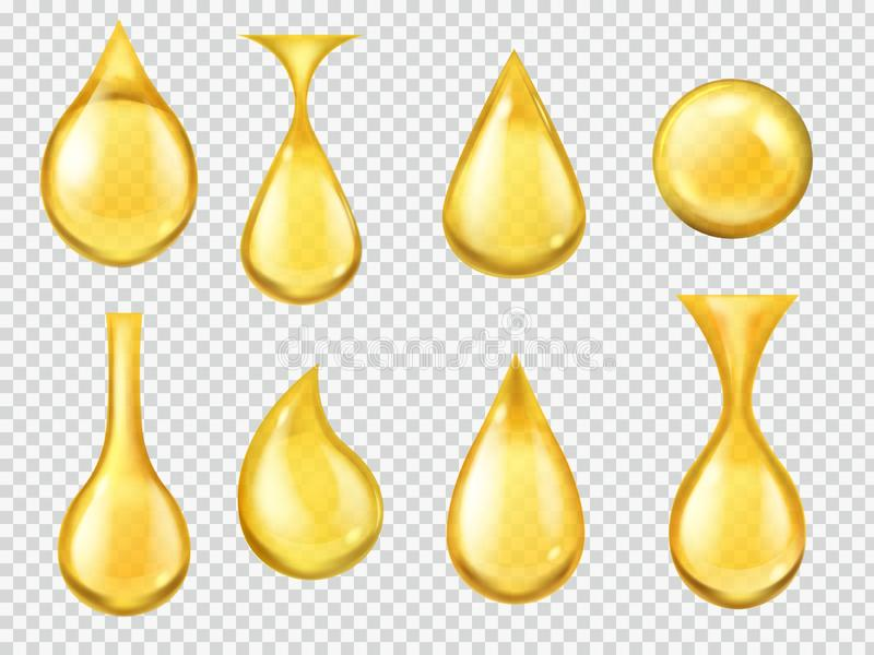 Realistic oil drops. Falling honey drop, gasoline yellow droplet. Gold capsule of liquid vitamin, dripping machine oil vector illustration