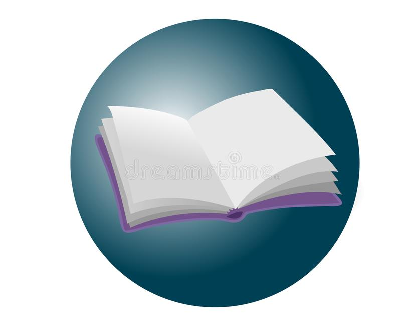 Realistic open empty violet book icon or button on blue circle, stock illustration