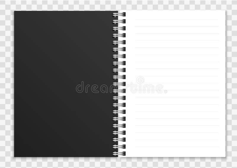 Realistic open notebook. Notepad or copybook with ring spiral bound pages and cover vector illustration stock illustration